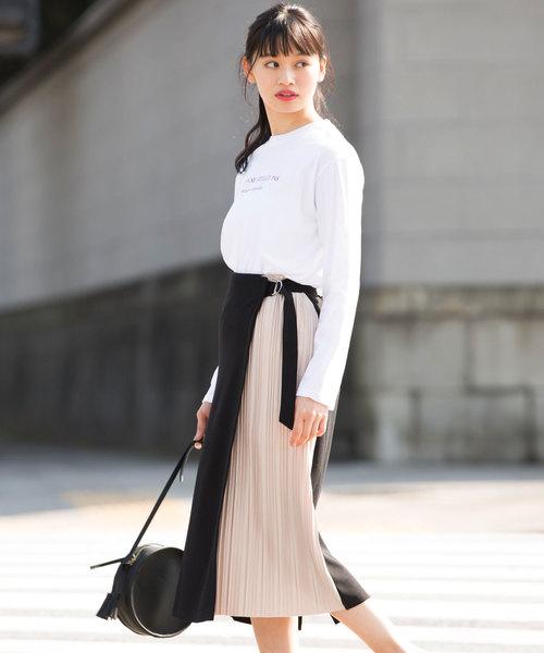 [Luz Llena] ジャージー×プリーツ切替ラップスカート