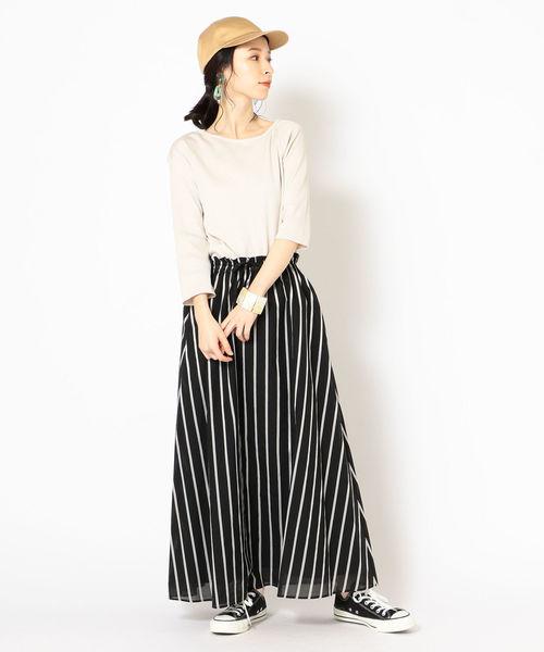[SHIPS for women] コットンシルクストライプスカート◆