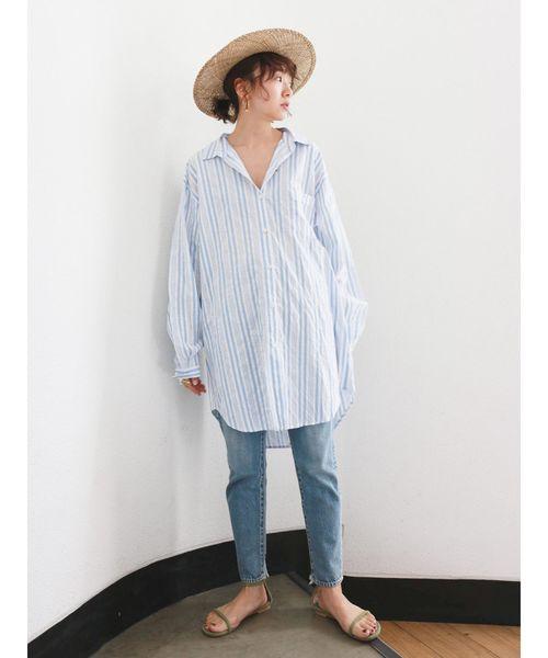 [Ungrid] ビッグルーズストライプシャツ
