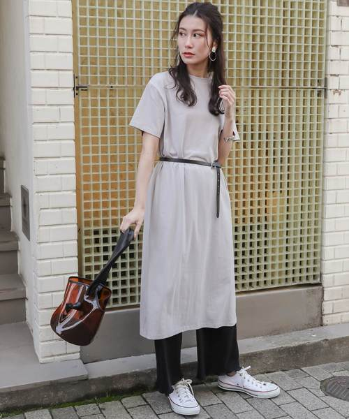 [clear] 【WEB限定】スリット入りTシャツワンピース/半袖
