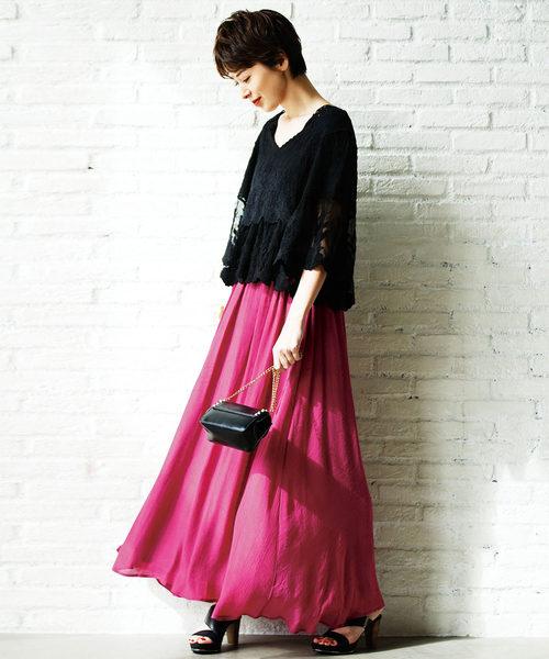 [Ranan] ワッシャースラブマキシスカート