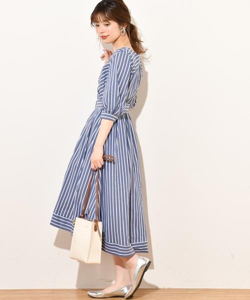 [natural couture] 共ベルト付きカシュクールワンピ