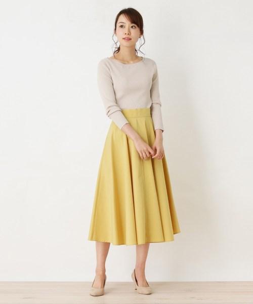 [OPAQUE.CLIP] 【洗濯機洗いOK】タックフレアスカート