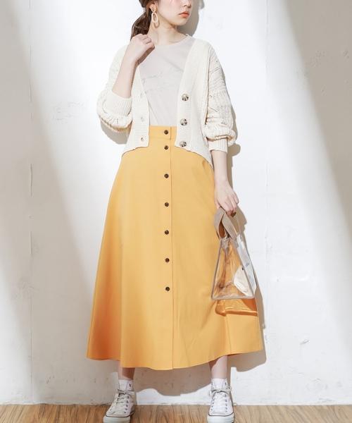 [natural couture] フロント釦ヤシ柄スカート