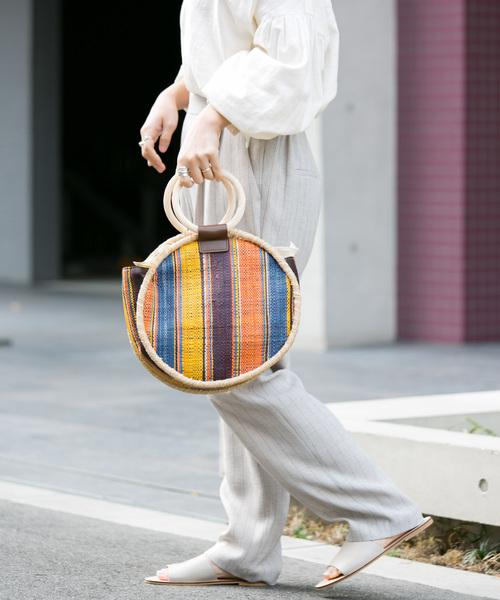 [URBAN RESEARCH] RAFFIA SHEET ROUND BAG