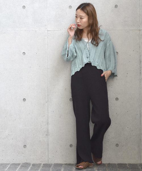 [w closet] カギ針編み透かし編みカーディガン