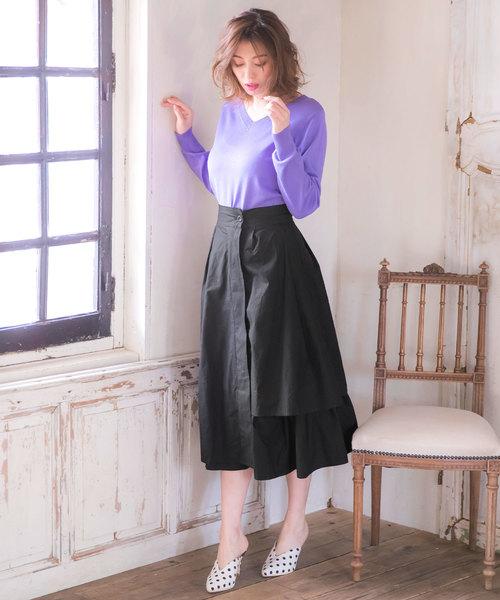 [kobelettuce] フェイクレイヤードミディ丈変形フレアスカート