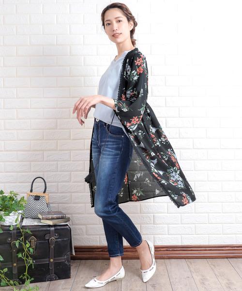 [Grandeir] 花柄七分袖シフォンロングガウン