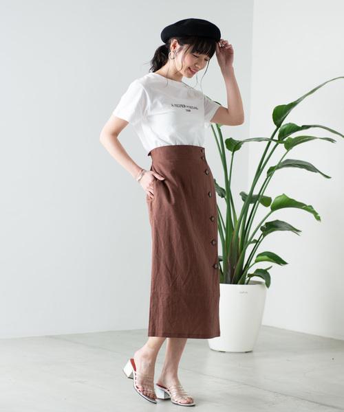 [WEGO] WEGO/リネンブレンドボタンナロースカート