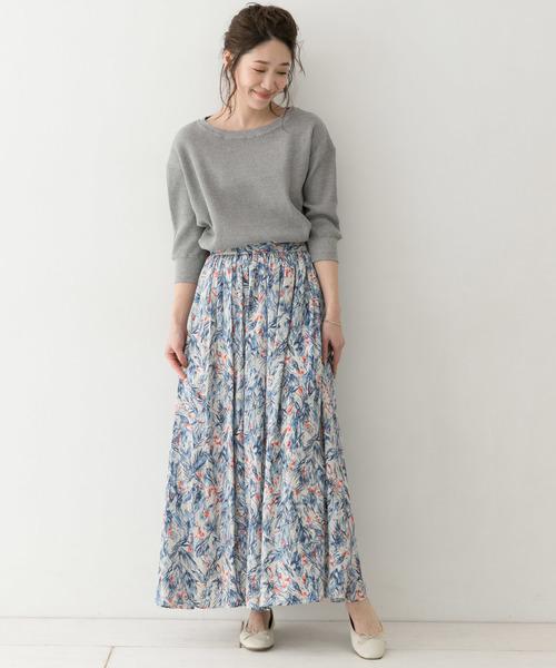 花柄 マキシスカート