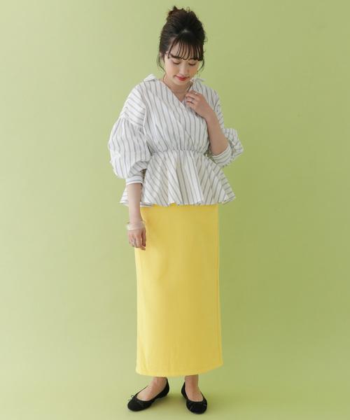 カラーロングタイトスカート