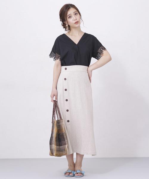 サイド釦麻調フレアスカート