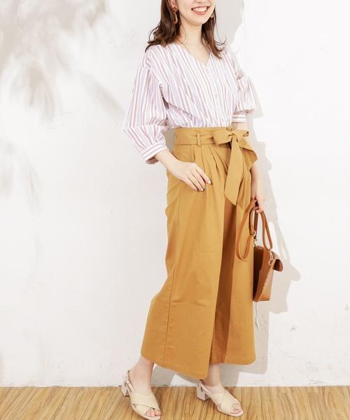 [natural couture] 共リボン付きワイドパンツ