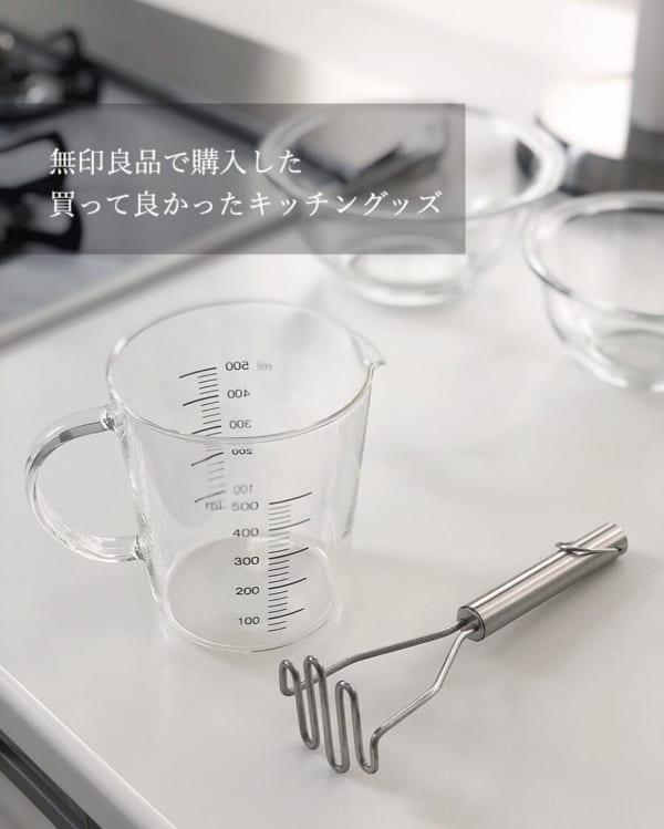 無印良品 耐熱ガラスメジャーカップ&ステンレスマッシャー