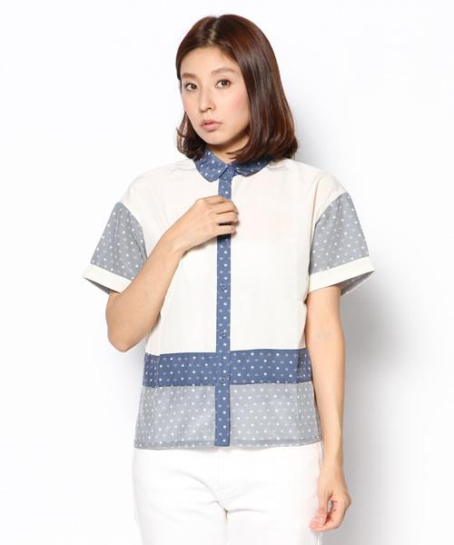 [haco!] リスクロースオリジナルモノグラムの切り替えシャツ