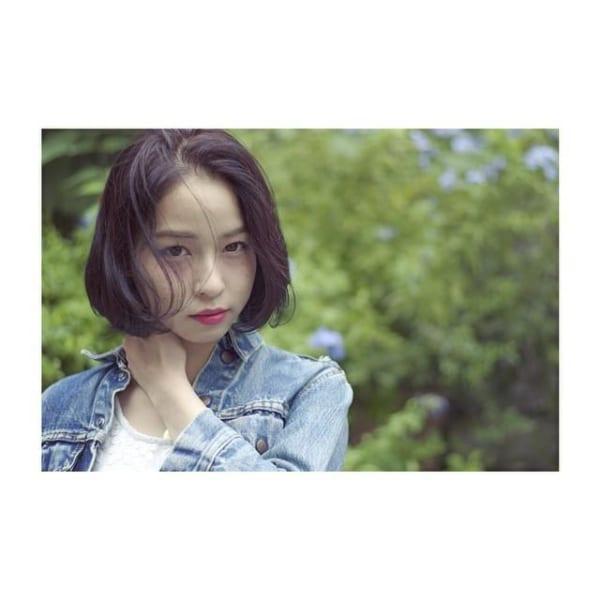 黒髪×ショートボブストレート 丸顔6