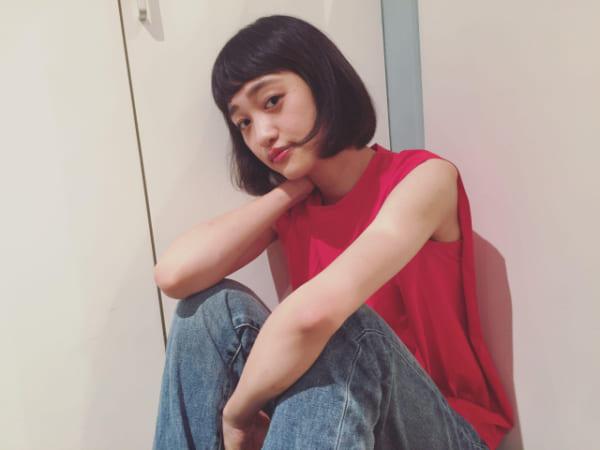 黒髪×ショートボブストレート 面長5
