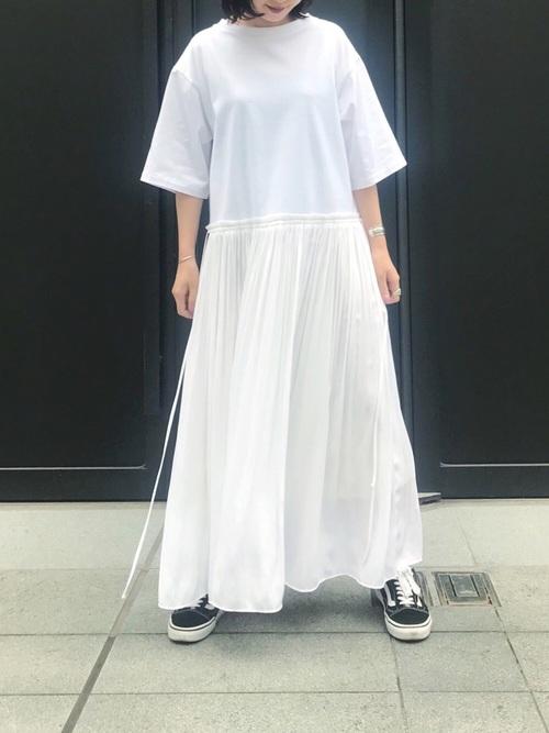 [Munich] Tシャツ×デシンプリーツスカート異素材切替えワンピース
