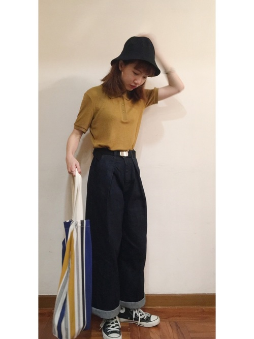 きれい色ポロシャツ×デニムコーデ