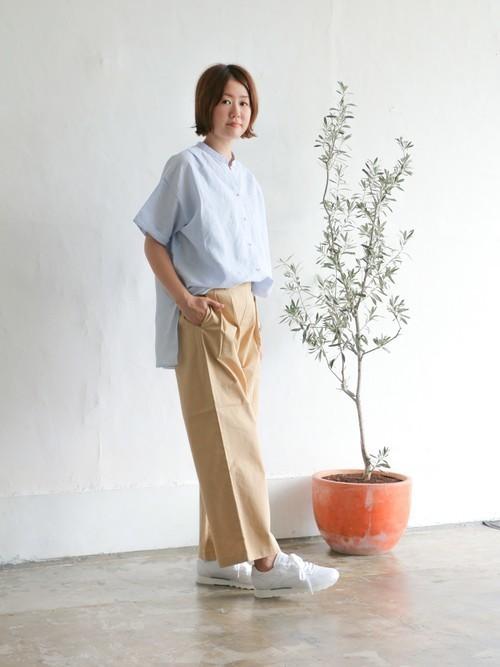 綿麻バンドカラー半袖シャツ