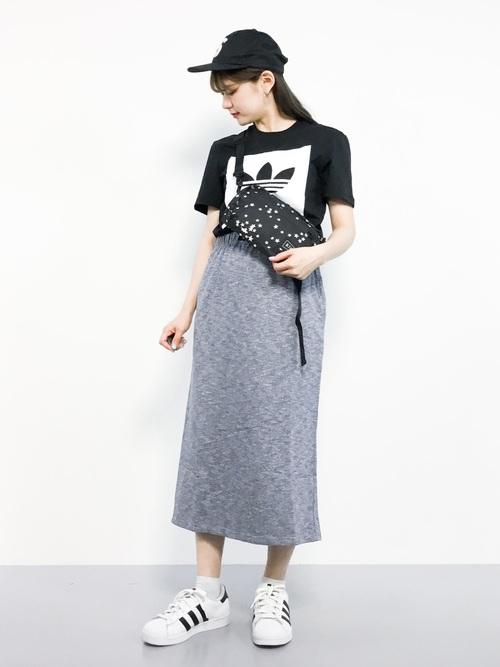 [merlot] ナイロンベルト付きスウェットスカート1411