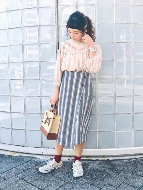 [Crisp] ストライプラップスカート