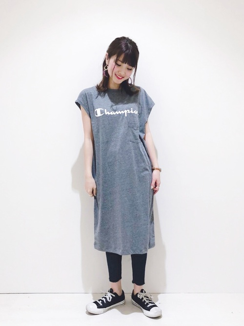 [earth music&ecology] Champion×earth カットソーワンピース 〇