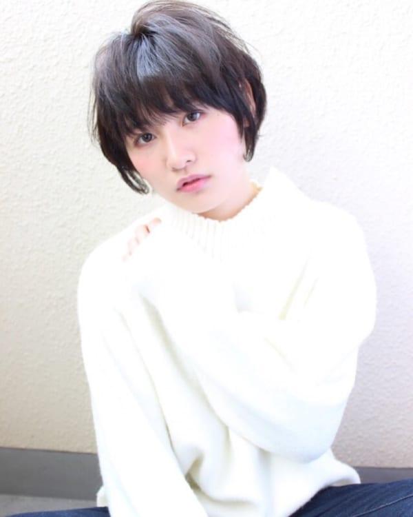 40代の【ショートヘア】×前髪あり 下ろし前髪2