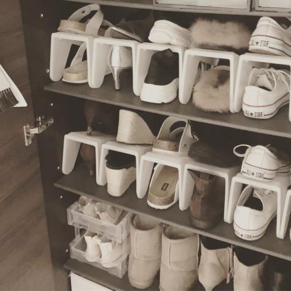 セリアの縦型靴ラック
