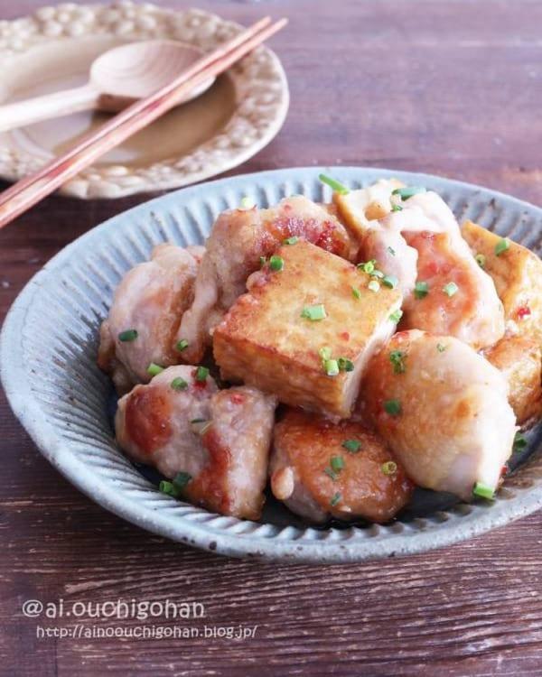 鶏肉と厚揚げのコク旨チリマヨ炒め