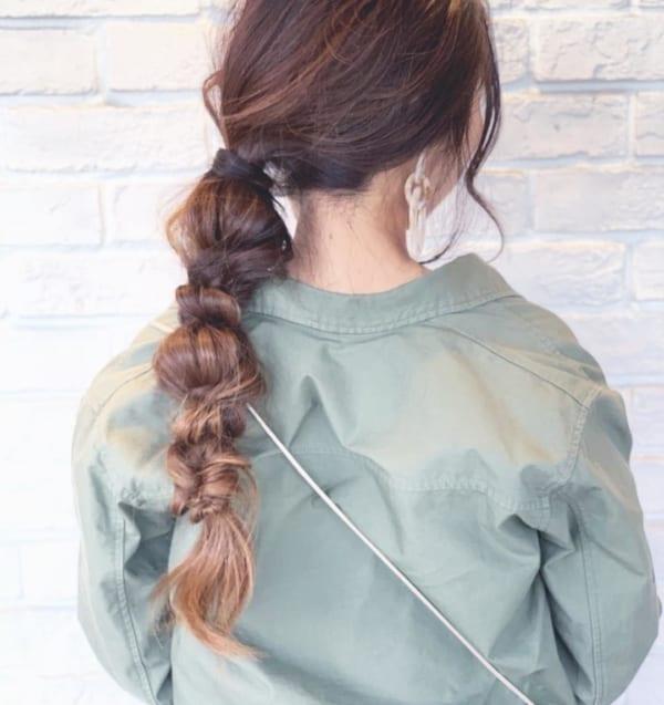 ロングヘアのまとめ髪①ポニーテール・編み込み11