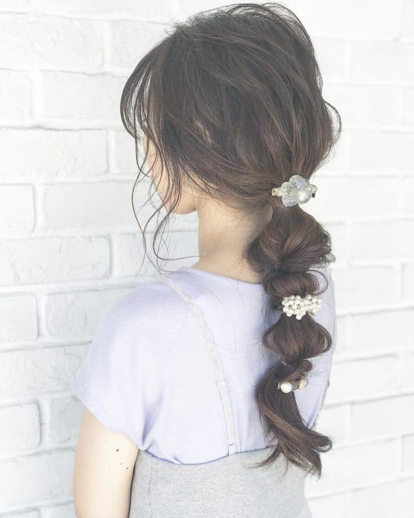 ロングヘアのまとめ髪①ポニーテール・編み込み12