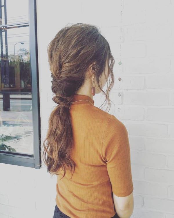 ロングヘアのまとめ髪①ポニーテール・編み込み13