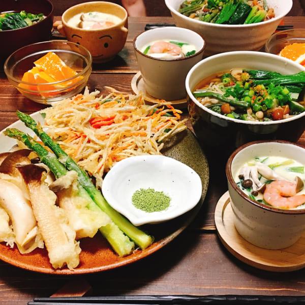 抹茶塩で食べる天ぷら