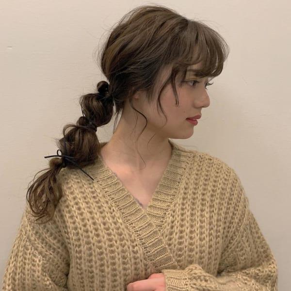 ミディアムのまとめ髪①ポニーテール14