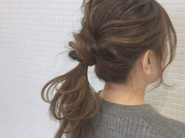 ロングヘアのまとめ髪①ポニーテール・編み込み14