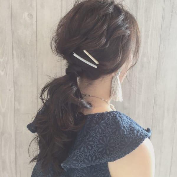 ロングヘアのまとめ髪①ポニーテール・編み込み17
