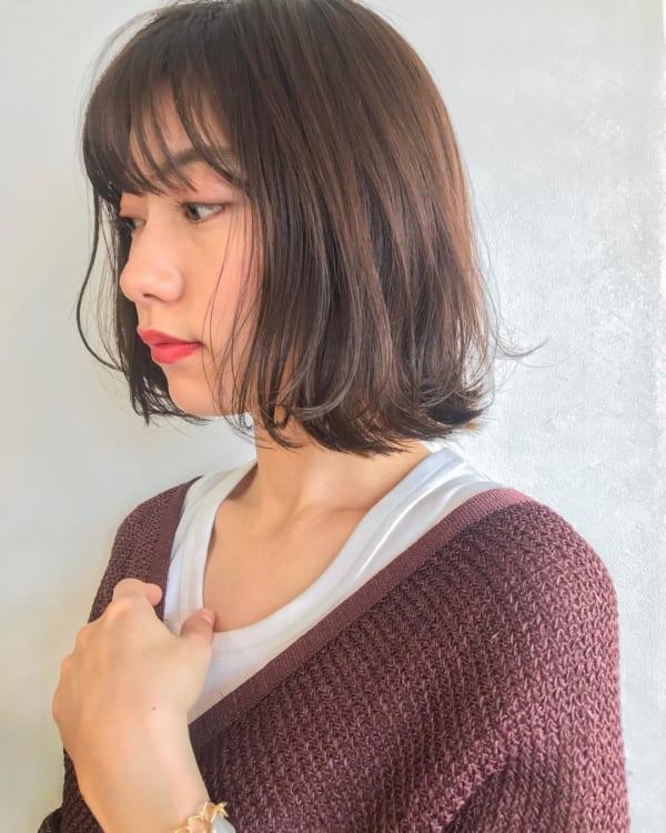 40代の【ボブヘア】×前髪あり シースルーバング2