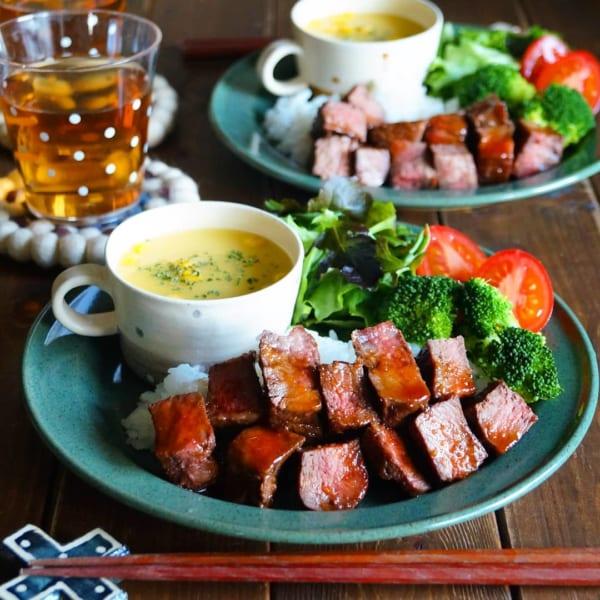 牛のミスジ肉のコロコロステーキ