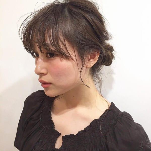 ショートボブ まとめ髪アレンジ お団子 前髪2