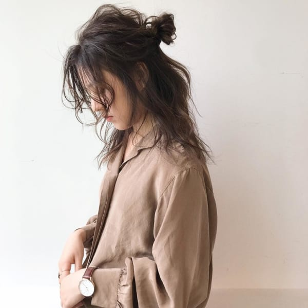 ミディアムのまとめ髪③ハーフアップ2