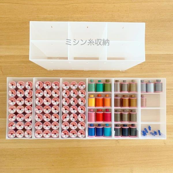 【無印】ポリプロピレン小物収納ボックス×ミシン糸