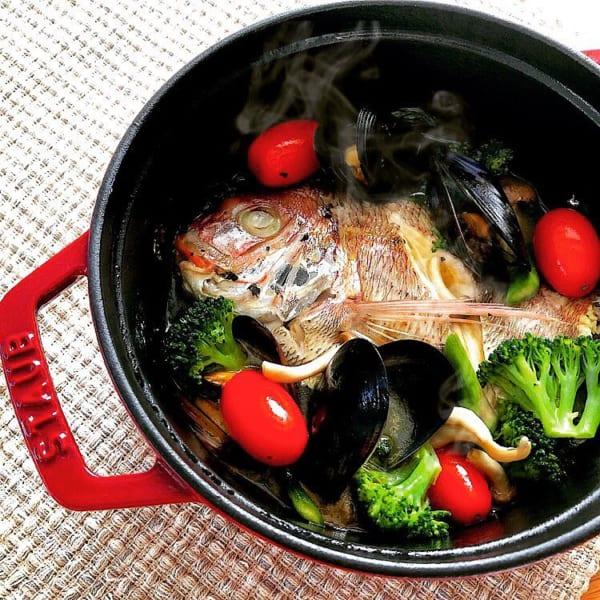 小鯛とムール貝のアクアパッツァ