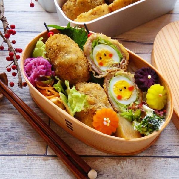 お弁当編②ウズラの卵の肉巻きフライ弁当