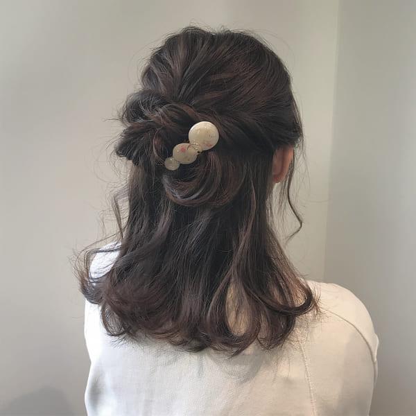 ミディアムのまとめ髪③ハーフアップ3