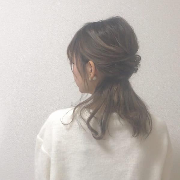 ミディアムのまとめ髪③ハーフアップ4