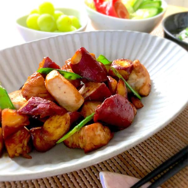 鶏ムネ肉とサツマイモの甘辛炒め