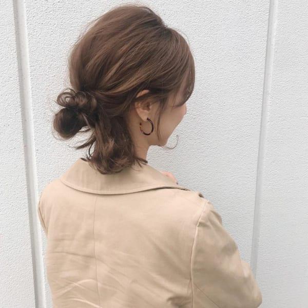 ショートボブ まとめ髪アレンジ お団子 ハーフアップ2