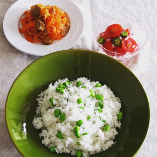 枝豆としらすの混ぜご飯