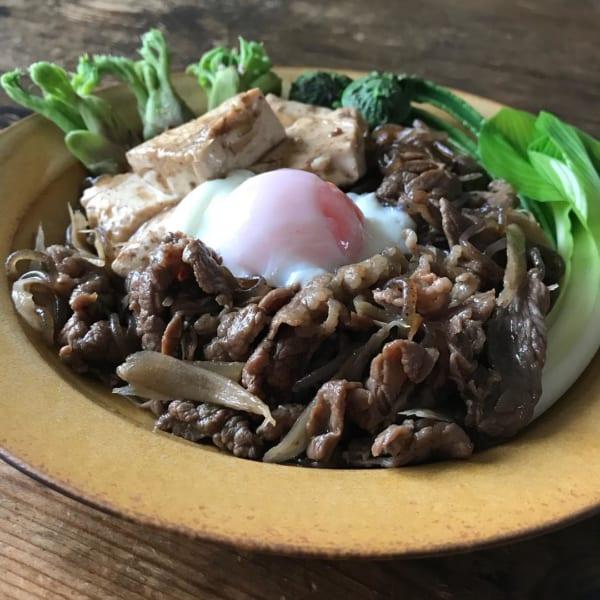 山菜添え肉豆腐